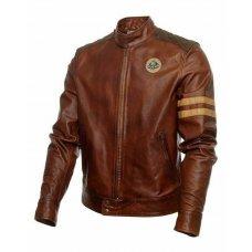Classic Biker Racing Brown Leather Jacket